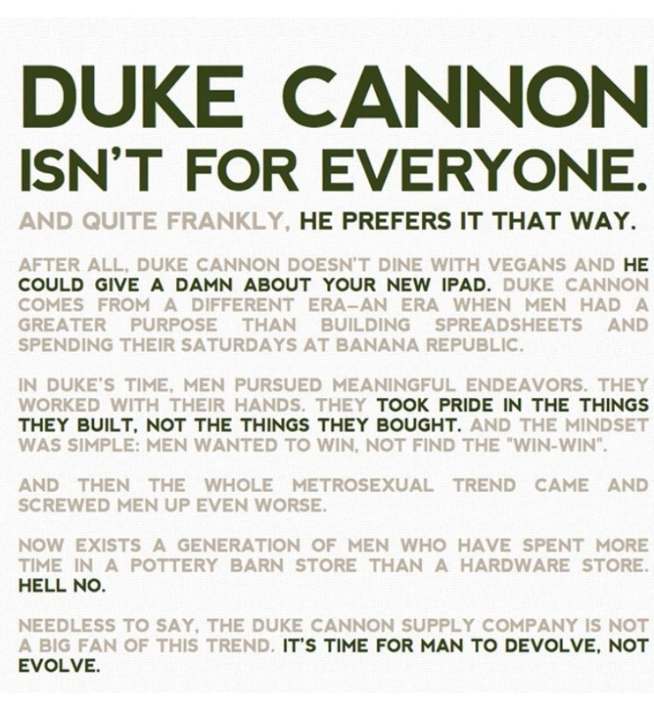 Duke Cannon motto